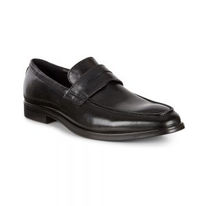 ecco mens black loafers shoes