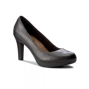 Clarks Adriel Viola, women's court shoes, black leather.