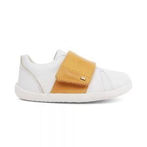 Unisex Boston White + chartreuse shoes by Bobux