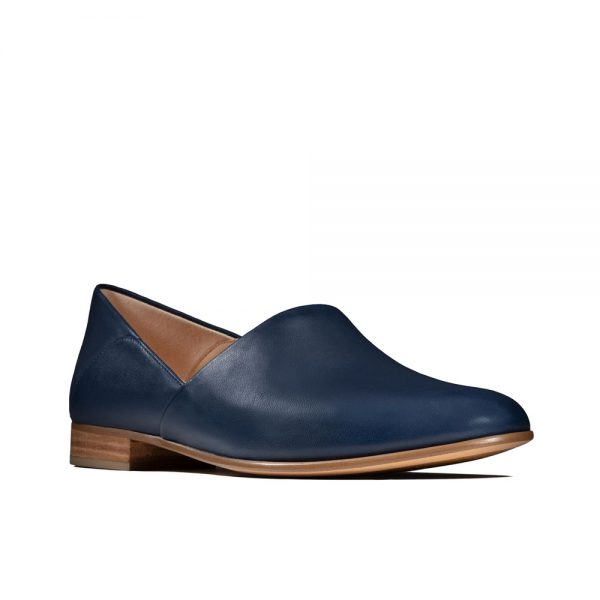 Clarks Pure Tone, women's shoes, navy leather.
