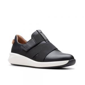 Clarks Un Rio Strap, women's casual shoes, black leather