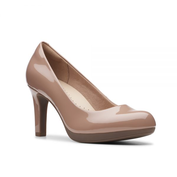 Clarks Adriel Viola, women's court shoes, praline patent.