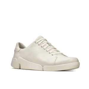 Clarks Tri Abby White leather women's casual shoes
