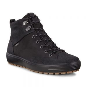 Ecco Soft 7 Tred mens.Black nubuck leather casual boot