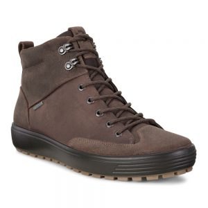 Ecco Soft 7 Tred mens. Cocoa Brown nubuck leather casual boot.