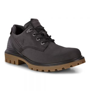 Ecco Treadtray M. Black nubuck leather derby shoes.
