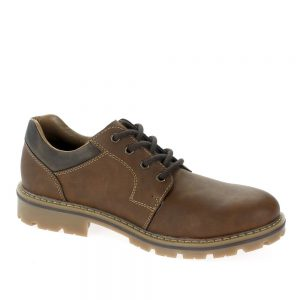 Rieker 14020. Men casual lace-up shoes. Upper made from brown leather.