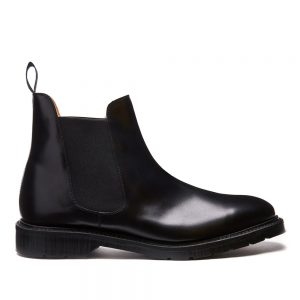 Solovair Black Chelsea Boot. Upper made from premium leather