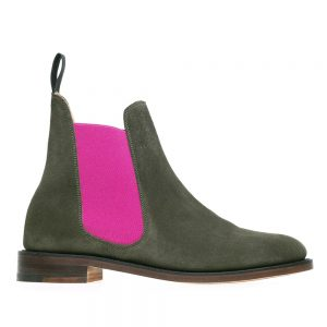 Solovair Victoria. Olive Green Suede Chelsea Boots