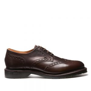 SOLOVAIR Ebony 4 Eye Gibson Brogue Shoe. Upper made from quality suede