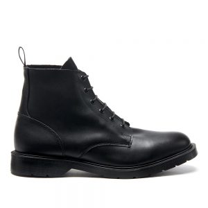 SOLOVAIR Black 6 Eye Derby Boot. Upper made from quality leather