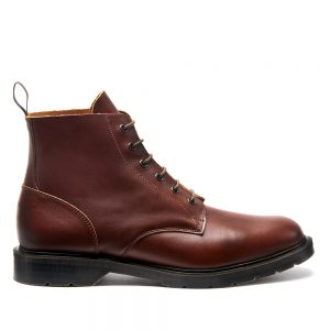 SOLOVAIR Chestnut 6 Eye Derby Boot. Upper made from quality leather