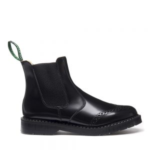 SOLOVAIR Black Hi-Shine Punched Dealer Boot. Made from quality leather
