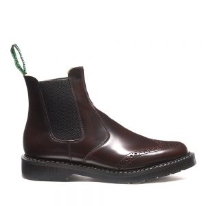 SOLOVAIR Burgundy Rub-Off Punched Dealer Boot. Quality leather.