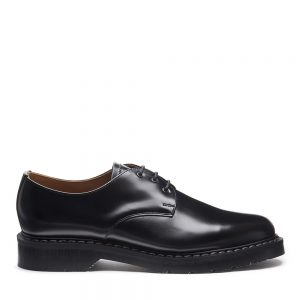 SOLOVAIR Black Hi-Shine Gibson Shoe. Made from quality leather.