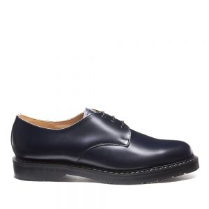 SOLOVAIR Navy Hi-Shine Gibson Shoe. Made from quality leather.