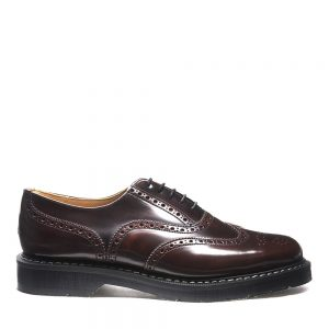 SOLOVAIR Burgundy Rub-Off English Brogue Shoe. Quality leather.