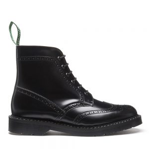 OVAIR Black Hi-Shine 6 Eye Brogue Boot. Made from quality leather.