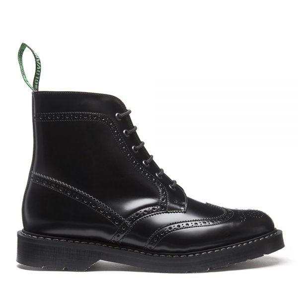 OVAIR Black Hi-Shine 6 Eye Brogue Boot. Made from quality leather.