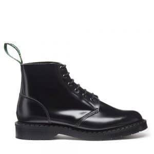 SOLOVAIR Black Hi-Shine 6 Eye Astronaut Boot. Quality leather.