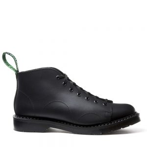 SOLOVAIR Black Greasy Monkey Boot. Made from quality leather.