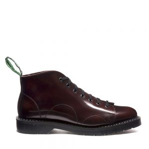 SOLOVAIR Burgundy Rub-Off Monkey Boot. Made from quality leather.