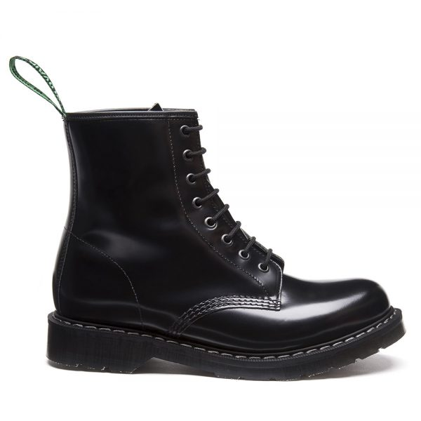 SOLOVAIR Black Hi-Shine 8 Eye Derby Boot. Made from quality leather