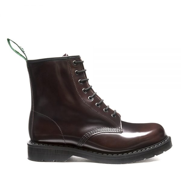 SOLOVAIR Burgundy Rub-Off 8 Eye Derby Boot. Made from quality leather.