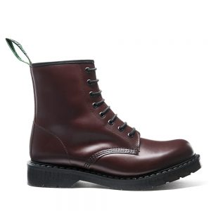 SOLOVAIR Oxblood 8 Eye Derby Boot. Made from quality leather.