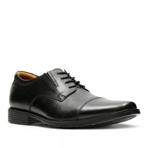 Clarks Tilden Cap Black Leather. Premium Shoes