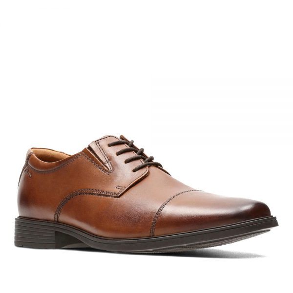 Clarks Becken Lace Dark Tan Leather. Premium Shoes