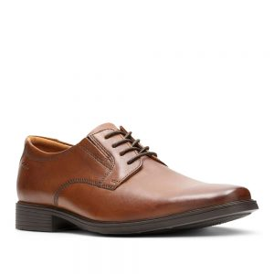 Clarks Tilden Plain Dark Tan Leather. Premium Shoes