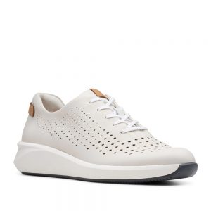 Clarks Un Rio Tie White Leather. Premium Shoes