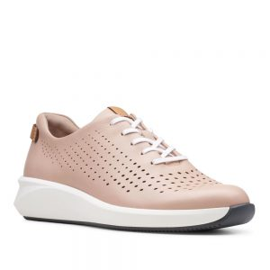 Clarks Un Rio Tie Blush Leather. Premium Shoes