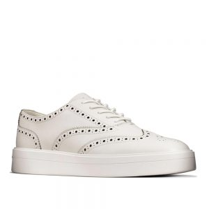 Clarks Hero Brogue White Leather. Premium Shoes