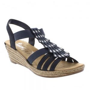 Rieker 62436-14 Blue Ladies Navy's Sandals. Stylish Premium Sandals