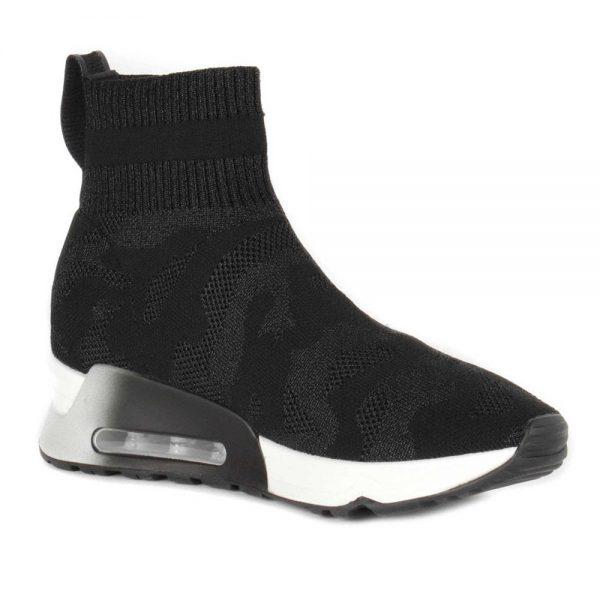 Ash Lulu Camo Trainers Black Stretch Knit. Premium Shoes