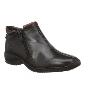 Rieker L3882-00 Ladies Black Combination Ankle Boots. Stylish Shoes