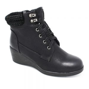 Lotus Priory Black Faux-Leather. Premium Women's Shoes.