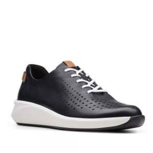 Clarks Un Rio Tie Black Leather. Premium Shoes