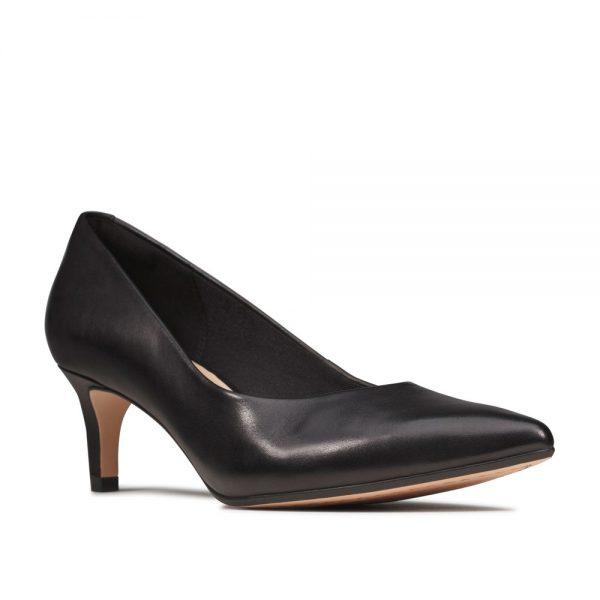 Clarks Laina 55 Court Black Leather. Premium Shoes