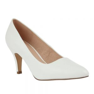 Lotus Holly White Smooth Microfibre Court Shoes. Premium shoes