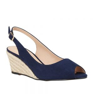 Lotus Tiffany Navy Microfibre Open Toe Sandal