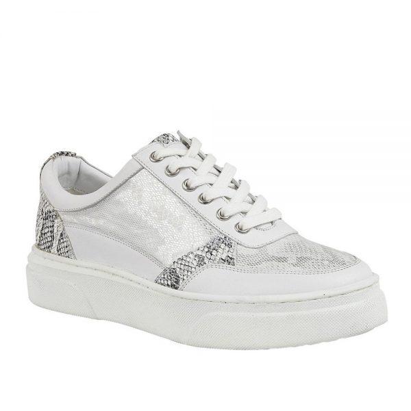 Lotus Venice Snake White Leather. Premium Women's Shoes