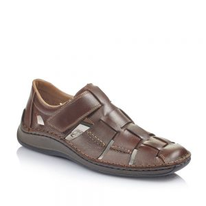 Rieker 05273-25 Men's Brown Hook and Loop Fastening Shoes