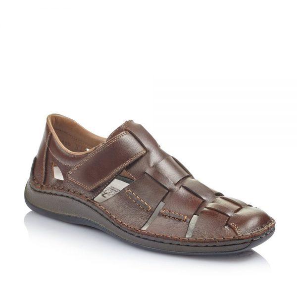 Rieker 05273-25 Men's Brown Hook and Loop Fastening Shoes