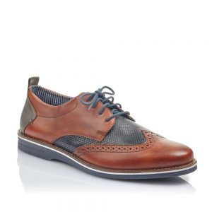 Rieker 12532-2 Men's Brown Combination Premium Lace Up Shoes