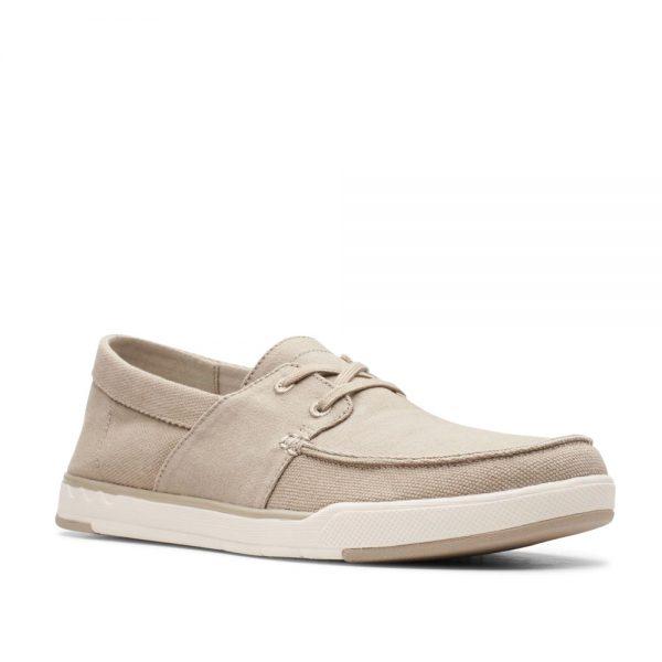 Clarks Step Isle Base Sand Canvas. Premium Men's Shoes