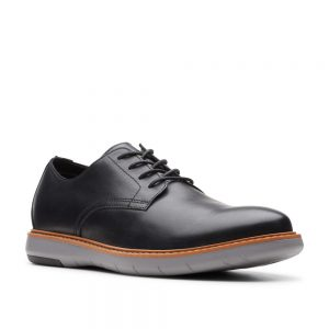 Clarks Draper Lace Oxford Flat Black. Premium Men's Shoes.