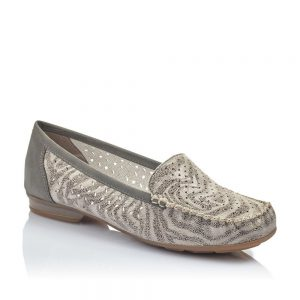 Rieker 40086-42 Ladies Grey Slip On Shoes